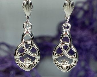 Claddagh Earrings, Celtic Jewelry, Irish Jewelry, Ireland Gift, Friendship Gift, Heart Jewelry, Anniversary Gift, Trinity Knot Jewelry