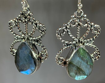 Celtic Knot Earrings, Celtic Jewelry, Labradorite Jewelry, Wiccan Jewelry, Norse Jewelry, Irish Jewelry, Scotland Jewelry, Gift for Her