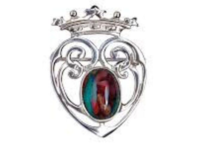 Luckenbooth Brooch, Scotland Jewelry, Mary Queen of Scots, Scotland Pin, Gift for Her, Anniversary Gift, New Bride Pin, Heart Jewelry
