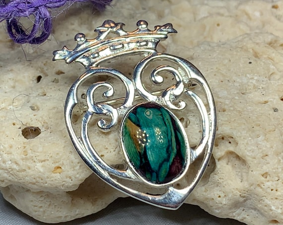 Luckenbooth Brooch, Scotland Jewelry, Celtic Jewelry, Mary Queen of Scots, Scotland Pin, Anniversary Gift, Outlander Gift, Heart Jewelry