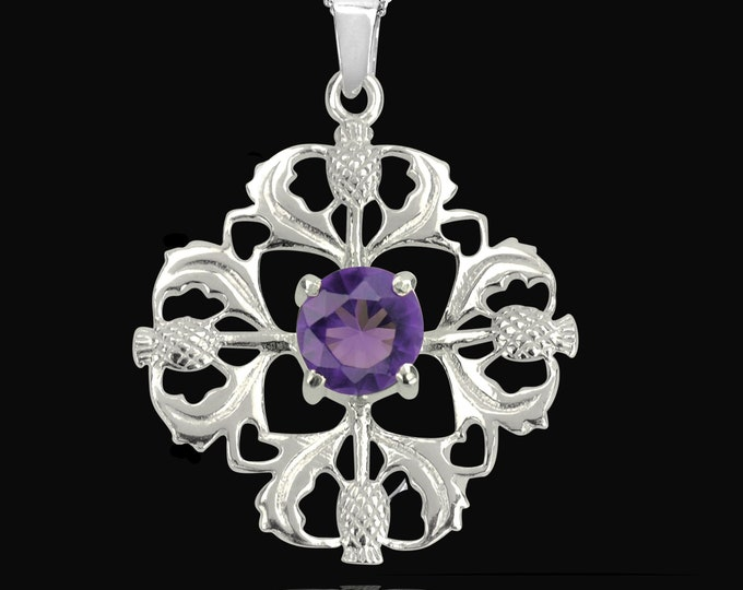 Thistle Necklace, Amethyst Necklace, Scotland Jewelry, Wife Gift, Wiccan Jewelry, Nature Jewelry, Outlander Necklace, Anniversary Gift