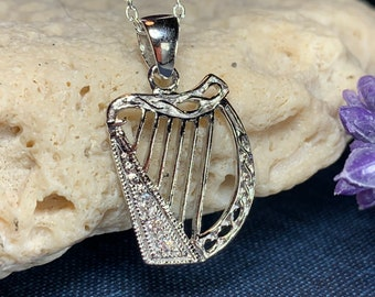 Harp Necklace, Celtic Jewelry, Irish Jewelry, Ireland Gift, Anniversary Gift, Music Jewelry, Sister Gift, Best Friend Gift, Irish Dance Gift