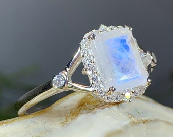 Moonstone Ring, Opal Promise Ring, Engagement Ring, Rose Quartz Ring, Anniversary Gift, Wiccan Jewelry, Boho Statement Ring, Cocktail Ring
