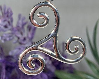 Triple Spiral Necklace, Celtic Necklace, Irish Jewelry, Pagan Jewelry, Girlfriend Gift, Sister Gift, Druid Necklace, Wiccan Jewelry