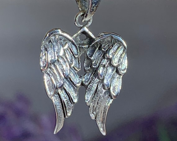 Angel Wings Necklace, Celtic Jewelry, Spiritual Jewelry, Angel Necklace, Wings Necklace, Bridal Jewelry, Memorial Jewelry, Thank You Gift