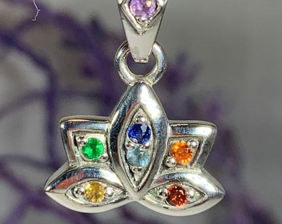 Lotus Necklace, Rainbow Necklace, Chakra Jewelry, Yoga Jewelry, Flower Jewelry, Inspirational Jewelry, Namaste Jewelry, Anniversary Gift