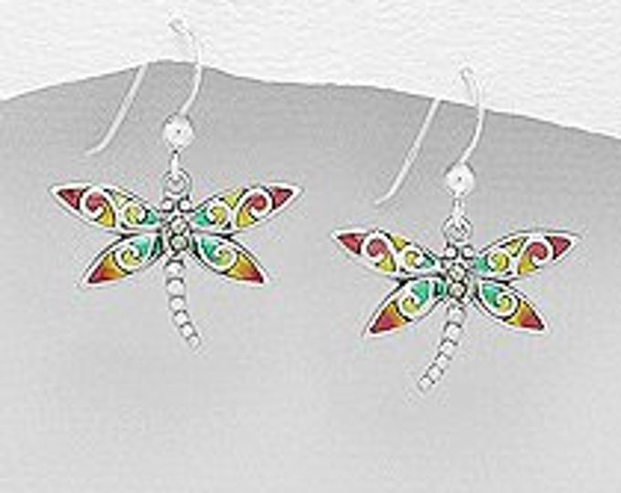 Dragonfly Earrings, Nature Jewelry, Stained Glass Jewelry, Anniversary Gift, Survivor Gift, Insect Jewelry, Animal Jewelry, Wiccan Jewelry