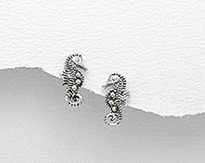 Seahorse Stud Earrings, Animal Jewelry, Beach Jewelry Mother's Day, Fish Earrings, Retirement, Anniversary, Nautical Jewelry, Easter Gift