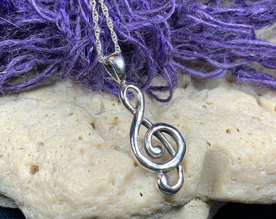 Music Note Necklace, Music Jewelry, G Clef Necklace, Instrument Jewelry, Band Jewelry, Jazz Jewelry, Graduation Gift, Musician Jewelry