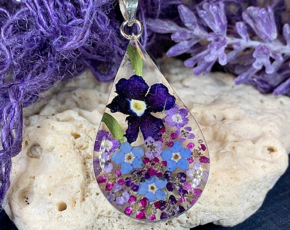 Forget Me Not Necklace, Flower Jewelry, February Birthday Flower, Anniversary Gift, Dried Flower Jewelry, Nature Jewelry, Memorial Gift