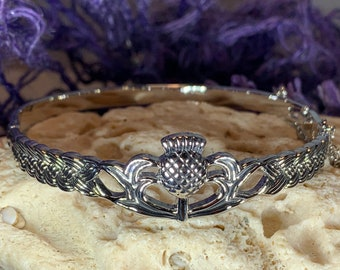 Thistle Bracelet, Scotland Jewelry, Outlander Jewelry, Celtic Jewelry, Wiccan Jewelry, Wife Gift, Sister Gift, Celtic Knot Jewelry, Mom Gift