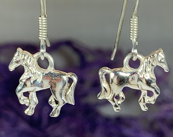 Horse Earrings, Celtic Jewelry, Equestrian Jewelry, Animal Jewelry, Nature Jewelry, Gift for Her, Ireland Jewelry, Norse Jewelry