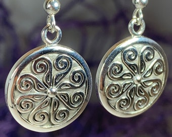 Celtic Spiral Earrings, Irish Jewelry, Viking Jewelry, Ireland Gift, Triskelion Jewelry, Triskele, Celtic Jewelry, Triple Spiral Jewelry