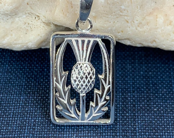 Thistle Necklace, Scotland Jewelry, Anniversary Gift, Celtic Jewelry, Gift for Her, Flower Jewelry, Girlfriend Gift, Wiccan Jewelry