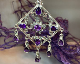 Celtic Queen Necklace, Celtic Jewelry, Amethyst Jewelry, Anniversary Gift, Bridal Jewelry, Gift for Her, Wife Gift, Mom Gift