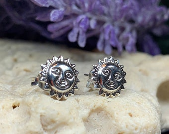 Sun Stud Earrings, Celestial Jewelry, Celtic Jewelry, Anniversary Gift, Boho Jewelry, Sun Jewelry, Beach Jewelry, Mom Gift, Sister Gift