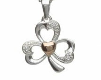 Sterling Silver Rose Gold Shamrock Irish Necklace