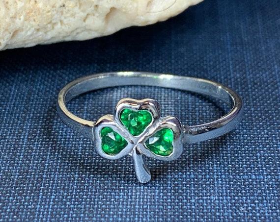 Shamrock Ring, Celtic Jewelry, Irish Jewelry, Clover Jewelry, Ireland Gift, Irish Dance Gift, Anniversary Gift, Bridal Jewelry, Good Luck