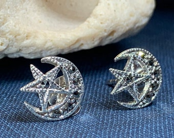 Moon Stud Earrings, Star Earrings, Celestial Jewelry, Nature Jewelry, Crescent Moon Post Earrings, Mom Gift, Sister Gift, Marcasite Jewelry