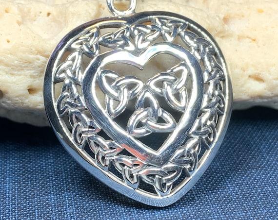 Trinity Knot Necklace, Celtic Necklace, Irish Jewelry, Heart Jewelry, Wiccan Jewelry, Mom Gift, Anniversary Gift, Scotland Jewelry