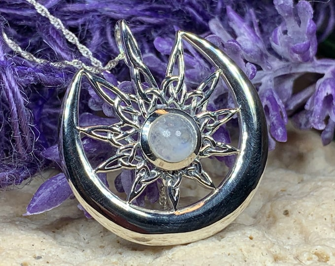 Featured listing image: Moon Necklace, Celtic Jewelry, Celestial Jewelry, Moonstone Jewelry, Crescent Moon, Moon Goddess, Anniversary Gift, Celtic Knot Pendant