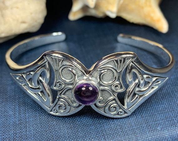 Triple Moon Bracelet, Celtic Jewelry, Irish Jewelry, Celestial Jewelry, Moon Jewelry, Viking Jewelry, Bangle Bracelet, Cuff Bracelet