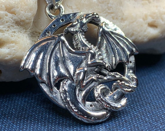 Dragon Necklace, Celtic Jewelry, Irish Jewelry, Celtic Knot Necklace, Wiccan Jewelry, Celtic Dragon Pendant, Pagan Jewelry, Gothic Jewerly