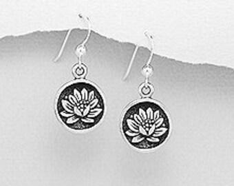 Lotus Earrings, Flower Earrings, Boho Jewelry, Wiccan Jewelry, Yoga Jewelry, Mom Gift, Girlfriend Gift, Anniversary Gift
