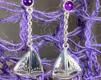 Celtic Sailboat Earrings, Celtic Jewelry, Irish Jewelry, Ireland Gift, Boat Jewelry, Sailor Gift, Amethyst Jewelry, Celtic Knot Earrings