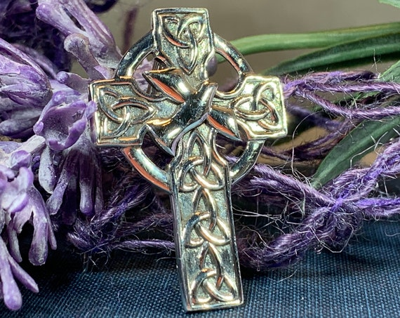Dove Trinity Knot Brooch, Celtic Jewelry, Scotland Jewelry, Cross Pin, Mom Gift, Anniversary Gift, Religious Jewelry, Celtic Cross Brooch