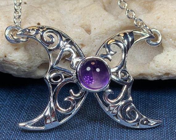 Moon Necklace, Triple Moon Pendant, Goddess Pendant, Celtic Jewelry, Anniversary Gift, Celestial Jewelry, Moonstone Necklace, Irish Jewelry
