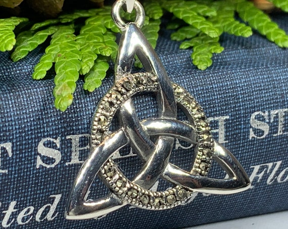 Trinity Knot Necklace, Celtic Knot Jewelry, Irish Jewelry, Bridal Jewelry, Anniversary Gift, Marcasite Jewelry, Scotland Jewelry, Mom Gift