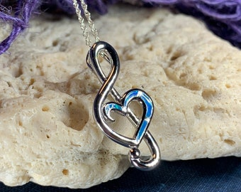 Music Necklace, Music Note Jewelry, Treble Clef Jewelry, Theater Jewelry, Orchestra Gift, Opal Jewelry, Music Teacher Gift, Chorus Gift