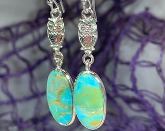 Owl Earrings, Celtic Jewelry, Moonstone Jewelry, Teacher Gift, Bird Jewelry, Anniversary Gift, Wife Gift, Wiccan Jewelry, Pagan Jewelry