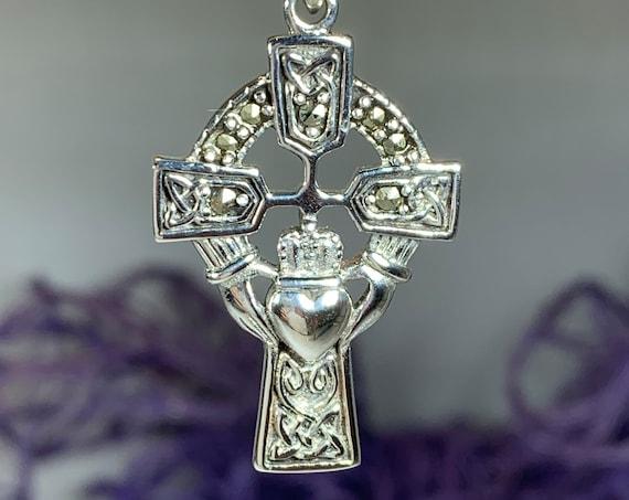 Claddagh Cross Necklace, Irish Cross, Celtic Cross Jewelry, First Communion Gift, Marcasite Cross, Celtic Cross Necklace, Religious Jewelry