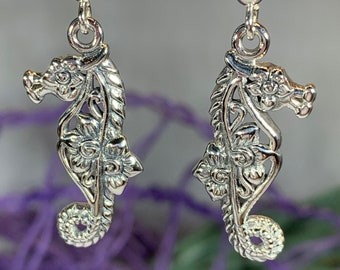 Seahorse Earrings, Celtic Jewelry, Nautical Jewelry, Mom Gift, Anniversary Gift, Ocean Jewelry, Sister Gift, Girlfriend Gift, Beach Jewelry