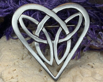 Heart Brooch, Celtic Jewelry, Celtic Knot Pin, Irish Jewelry, Scotland Jewelry, Anniversary Gift, Trinity Knot Pin, Love Knot Brooch