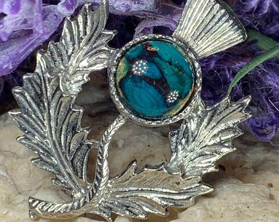 Thistle Brooch, Scotland Jewelry, Outlander Jewelry, Nature Jewelry, Mom Gift, Scotland Pin, Bride Pin, Celtic Pin, Wiccan Pin