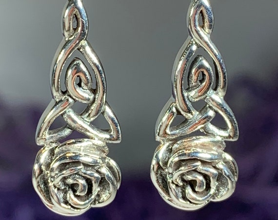 Mother's Knot Celtic Earrings, Celtic Knot Jewelry, Ireland Gift, Rose Jewelry, New Mom Gift, Flower Jewelry, Irish Gift, Scotland Jewelry