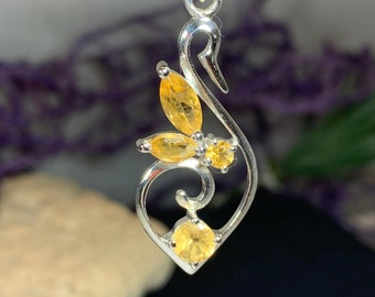 Swan Necklace, Children of Lir Jewelry, Celtic Jewelry, Irish Jewelry, Nature Necklace, Bird Jewelry, Anniversary Gift, Citrine Jewelry
