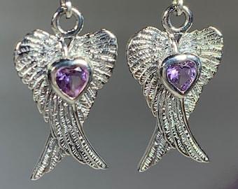 Angel Wings Earrings, Celtic Jewelry, Spiritual Jewelry, Anniversary Gift, Wings Jewelry, Bridal Jewelry, Heart Jewelry, Survivor Gift