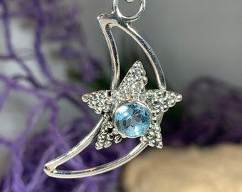 Moon Necklace, Star Necklace, Celestial Jewelry, Wiccan Jewelry, Pagan Jewelry, Goddess Jewelry, Mom Gift, Mystical Jewelry, Girlfriend Gift
