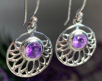 Celtic Flower Earrings, Celtic Jewelry, Amethyst Jewelry, Yoga Jewelry, Norse Jewelry, Irish Jewelry, Scotland Jewelry, Gift for Her