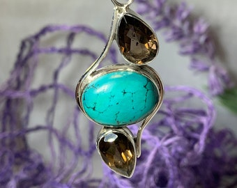 Turquoise Necklace, Smokey Quartz Jewelry, Celtic Jewelry, Anniversary Gift, Wiccan Jewelry, Pagan Necklace, Mystic Topaz