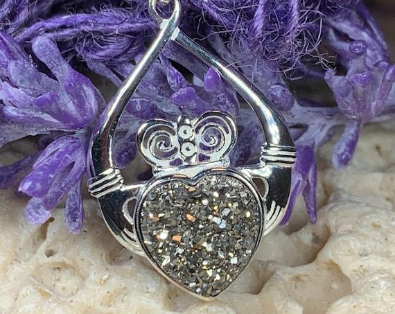 Claddagh Necklace, Celtic Jewelry, Irish Jewelry, Druzy Jewelry, Heart Pendant, Wife Gift, Mom Gift, Girlfriend Gift, Anniversary