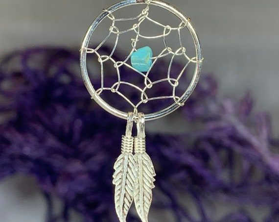 Dreamcatcher Necklace, Celtic Necklace, Turquoise Jewelry, Sister Gift, Mom Gift, Anniversary Gift, Graduation Jewelry, Feather Pendant