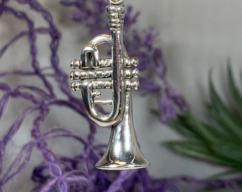 Trumpet Necklace, Music Jewelry, Instrument Jewelry, Band Jewelry, Jazz Jewelry, Graduation Gift, Musician Jewelry, Trumpet, Jazz Lover