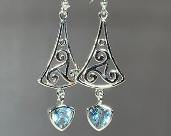 Triple Spiral Earrings, Celtic Jewelry, Irish Jewelry, Celtic Knot Jewelry, Bridal Jewelry, Gemstone Jewelry, Scotland Jewelry, Mom Gift