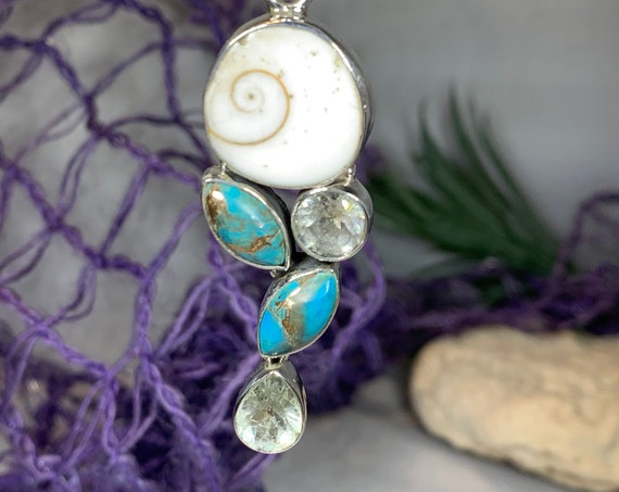 Turquoise Ocean Necklace, Gemstone Pendant, Beach Jewelry, Celtic Jewelry, Anniversary Gift, Wiccan Jewelry, Pagan Necklace, Mystic Topaz