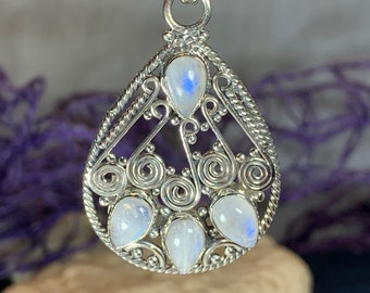 Celtic Knot Necklace, Moonstone Jewelry, Celtic Jewelry, Celestial Jewelry, Irish Jewelry, Anniversary Gift, Scotland Jewelry, Wife Gift